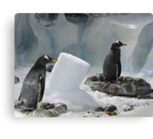 We Made It Ourselves, Honest (Penguins with Ice Column) Canvas Print