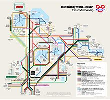 Walt Disney World Transportation as a Subway Map Photographic Print