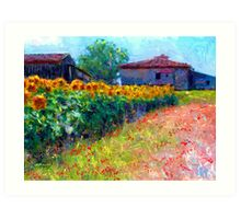 sunflower field/ after the style of Monet Art Print