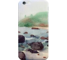 Tropical beach at sunset - nature background watercolor iPhone Case/Skin