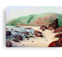 Tropical beach at sunset - nature background watercolor Canvas Print