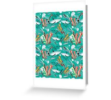 sea pattern with sharks Greeting Card