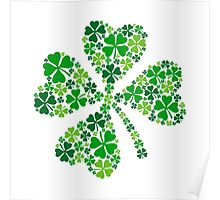 lucky four-leaf clover, green shamrock  Poster