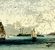 Boston Lighthouse from an aquatint by Karl Bodmer - all products by Dennis Melling