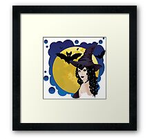 Witch and Bats 2 Framed Print