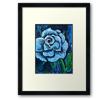 """""""Blue Rose"""" original signed acrylic painting on canvas Framed Print"""