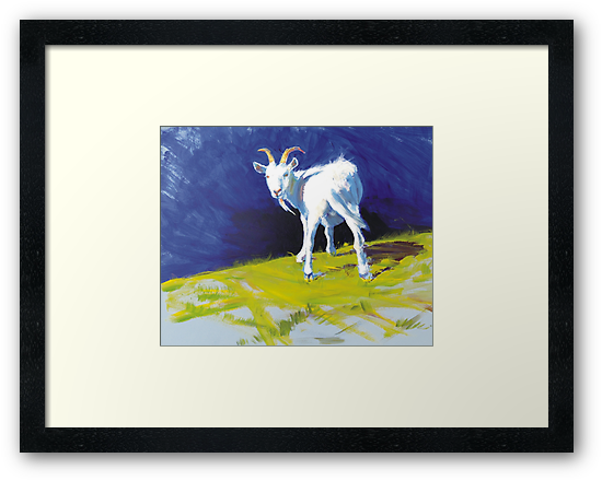 Strike A Pose - Amusing Acrylic Goat Painting by MikeJory
