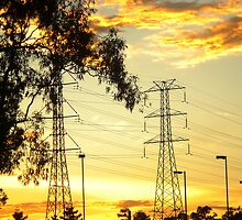 power line sunset by Ness Fitzgerald