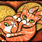 Orange Cats Wrestling by Jamie Wogan Edwards