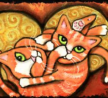 Orange Cats Wrestling by Jamiecreates1