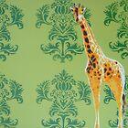 Wallpaper Giraffe Green by Nicole Tattersall