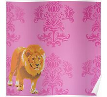 Wallpaper Lion Pink Poster