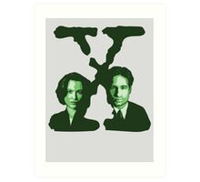 X-FILES - Scully & Mulder (green) Art Print