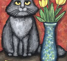 Gray Cat With Tulips by Jamie Wogan Edwards
