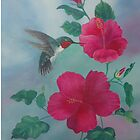 HUMMINGBIRD WITH RED HYBISCUS OIL PAINTING by SANDRA BROWN