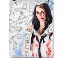 Zombie person with falling 1 dollar US bank notes iPad Case/Skin