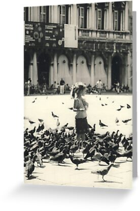 Little girl and pigeons in Venice by Elana Bailey