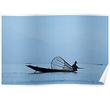 Intha Fisherman with Conical Fishing Net, Inle Lake (Burma) Poster
