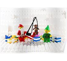 Santa Fishing for Gifts Poster