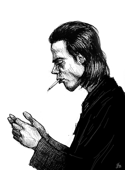 Nick Cave Sketch by Jeffrey Phillips