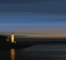 Portpatrick Lightouse by bluefinart