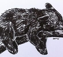 Sleepy Black Bear by dottipriceart