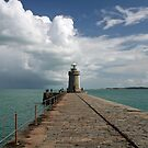St Peter Port Lighthouse and Breakwater by Karen Millard
