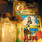 Olive Oil And Old Bottles by Susan Bergstrom