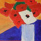 Red flowers in white vase by DeborahDinah