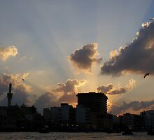 Sunset on Dubai Creek by Rosie Appleton