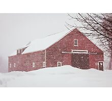 Winter Red Barn Photographic Print
