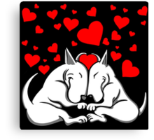 Bull Terriers In Love Canvas Print