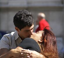 kissing by Moshe Cohen