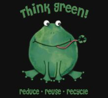 Think Green Frog Environment T-Shirt by Jamie Wogan Edwards