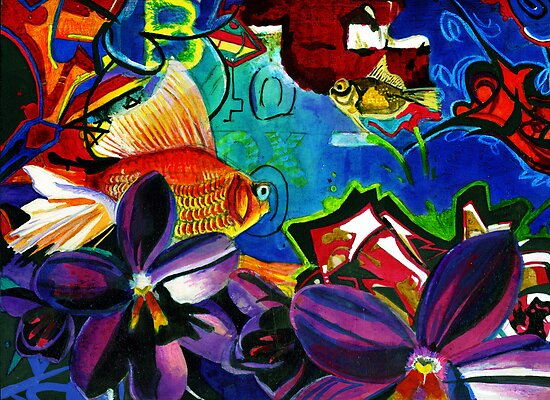 Fish and Flowers (Grafiti) by sadeyedartist