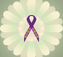 Purple Ribbon - Green Floral Design  by Hopasholic