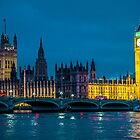 Big Ben Houses of Parliament and Westminster Bridge London at night. by James  Key