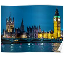 Big Ben Houses of Parliament and Westminster Bridge London at night. Poster