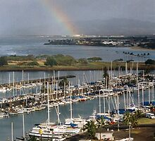 Honolulu Yacht Club Marina by Cheryl  Lunde