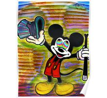 Psychedelic Mickey Mouse Colorful Vibrant Character Design by CAP Poster