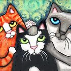 Siamese Tabby and Tuxedo Cats Posing Art Print by Jamiecreates1