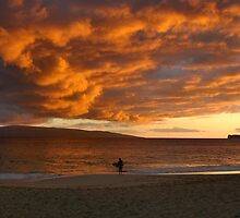 Surfers at Dusk by Stephen Vecchiotti