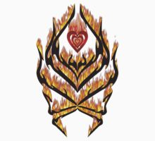 Flaming heart and tribal design by queensoft