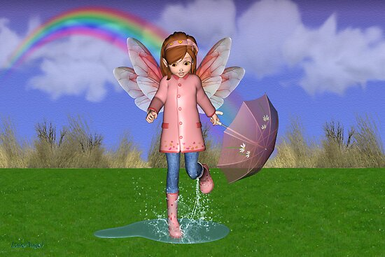 Puddles .. a fairy in the rain by LoneAngel