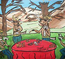 deer playing poker by joseph  price