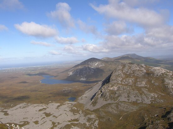 Mountain range view from Errigal Mountain Donegal Ireland by mikequigley