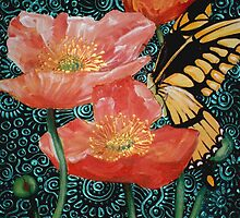 Butterfly with Poppies by Cherie Roe Dirksen