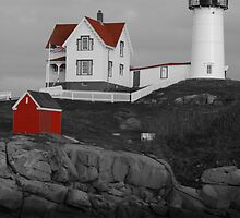Cape Neddick Black & White w/ Red Roof by fotomonkey2