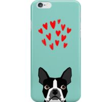Boston Terrier - Hearts, Cute Funny Dog Cute Valentines Dog, Pet, Cute, Animal, Dog Love,  iPhone Case/Skin