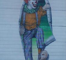 Clown On A Garage Door by Edith Farrell